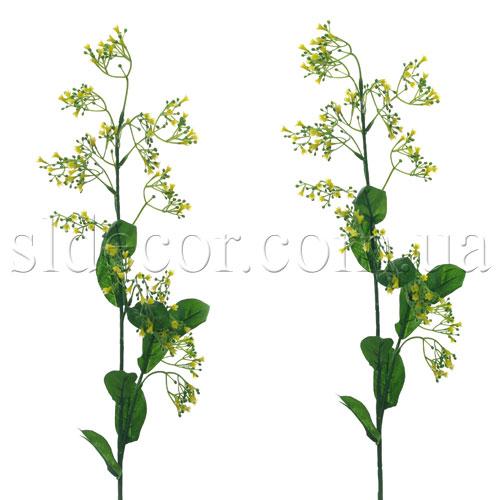 Гипсофила желтая.  Цветочки сделаны из латекса, листья - из ткани.  Высота ветки 88см. добавки к цветам.