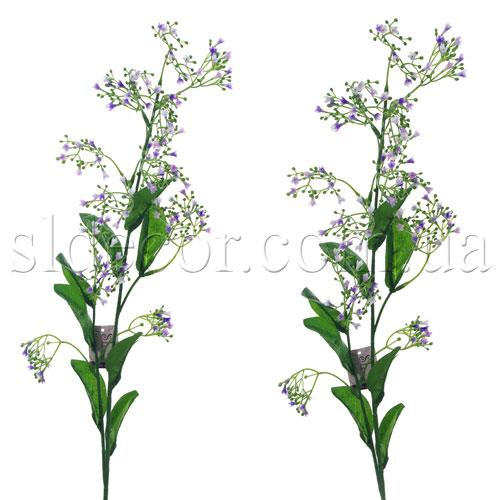Гипсофила бело-сиреневая.  Цветочки сделаны из латекса, листья - из ткани.  Высота ветки 88см.  Полевые цветы. или.